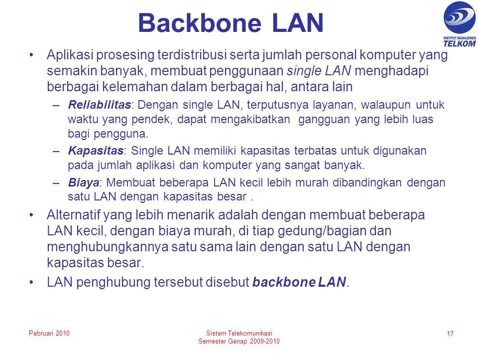 Backbone LAN Aplikasi prosesing terdistribusi serta jumlah personal komputer yang semakin banyak, membuat penggunaan single LAN menghadapi berbagai kelemahan dalam berbagai hal, antara lain –Reliabilitas: Dengan single LAN, terputusnya layanan, walaupun untuk waktu yang pendek, dapat mengakibatkan gangguan yang lebih luas bagi pengguna.