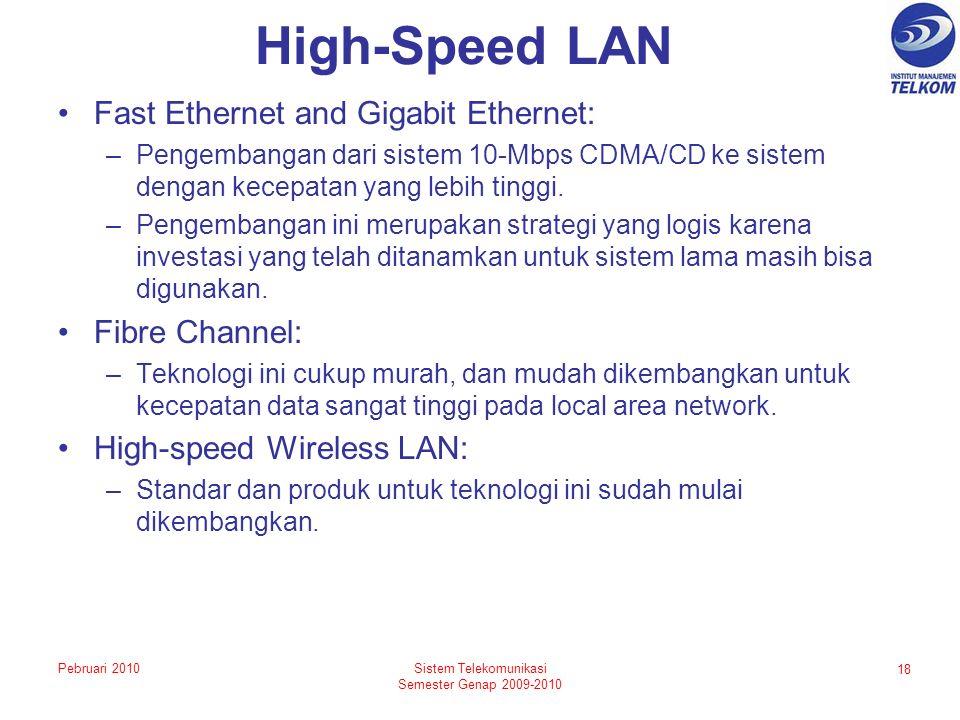 High-Speed LAN Fast Ethernet and Gigabit Ethernet: –Pengembangan dari sistem 10-Mbps CDMA/CD ke sistem dengan kecepatan yang lebih tinggi. –Pengembang