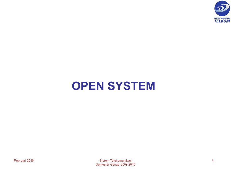OPEN SYSTEM 3 Sistem Telekomunikasi Semester Genap 2009-2010 Pebruari 2010