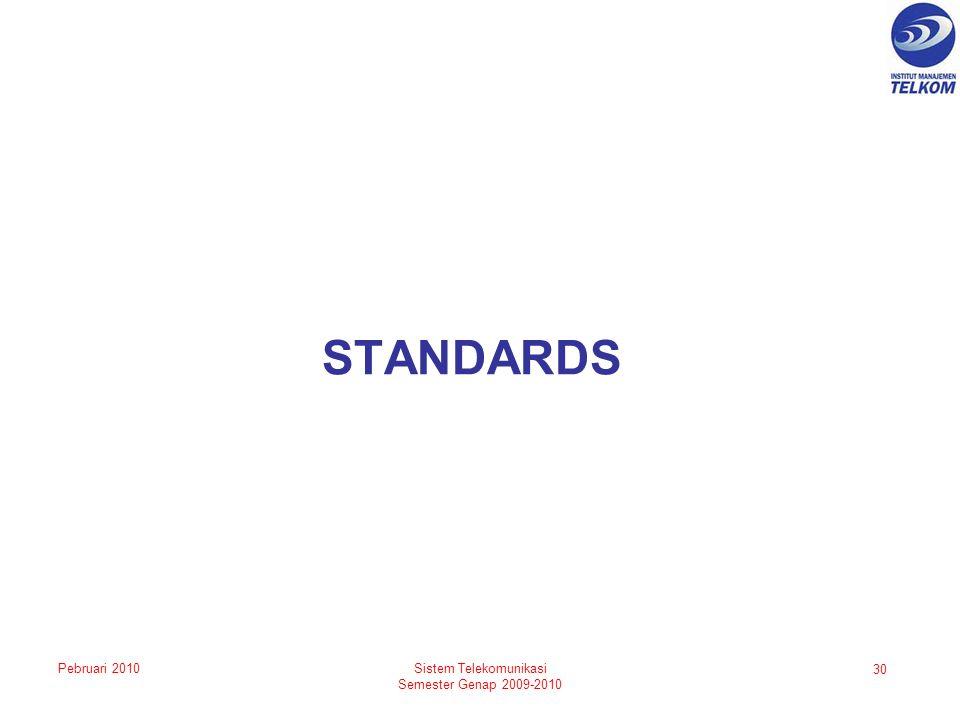 STANDARDS 30 Sistem Telekomunikasi Semester Genap 2009-2010 Pebruari 2010