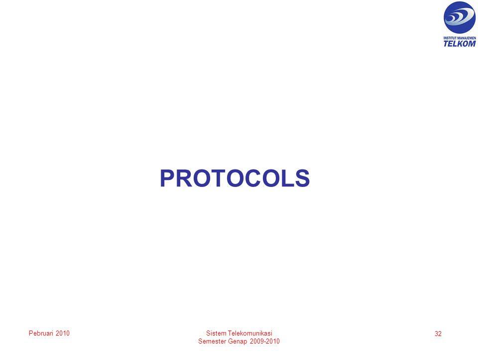 PROTOCOLS 32 Sistem Telekomunikasi Semester Genap 2009-2010 Pebruari 2010