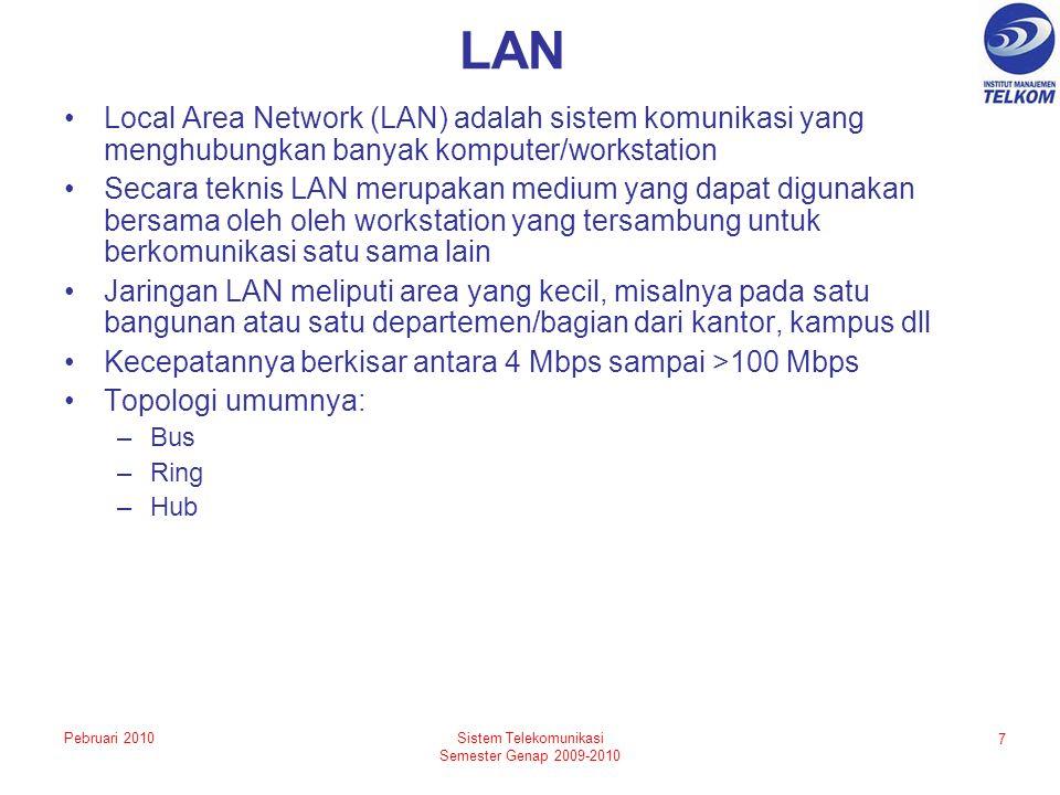 LAN Local Area Network (LAN) adalah sistem komunikasi yang menghubungkan banyak komputer/workstation Secara teknis LAN merupakan medium yang dapat digunakan bersama oleh oleh workstation yang tersambung untuk berkomunikasi satu sama lain Jaringan LAN meliputi area yang kecil, misalnya pada satu bangunan atau satu departemen/bagian dari kantor, kampus dll Kecepatannya berkisar antara 4 Mbps sampai >100 Mbps Topologi umumnya: –Bus –Ring –Hub 7 Sistem Telekomunikasi Semester Genap 2009-2010 Pebruari 2010