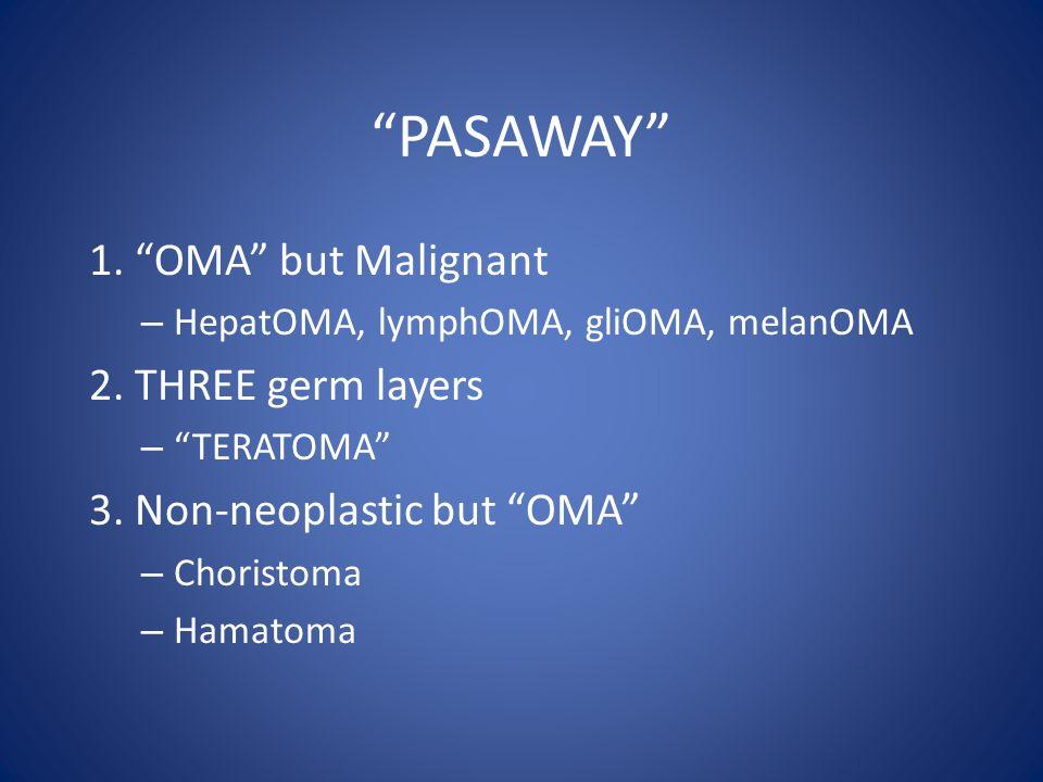 """PASAWAY"" 1. ""OMA"" but Malignant – HepatOMA, lymphOMA, gliOMA, melanOMA 2. THREE germ layers – ""TERATOMA"" 3. Non-neoplastic but ""OMA"" – Choristoma – H"