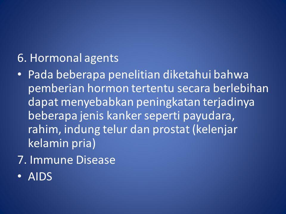 6. Hormonal agents Pada beberapa penelitian diketahui bahwa pemberian hormon tertentu secara berlebihan dapat menyebabkan peningkatan terjadinya beber
