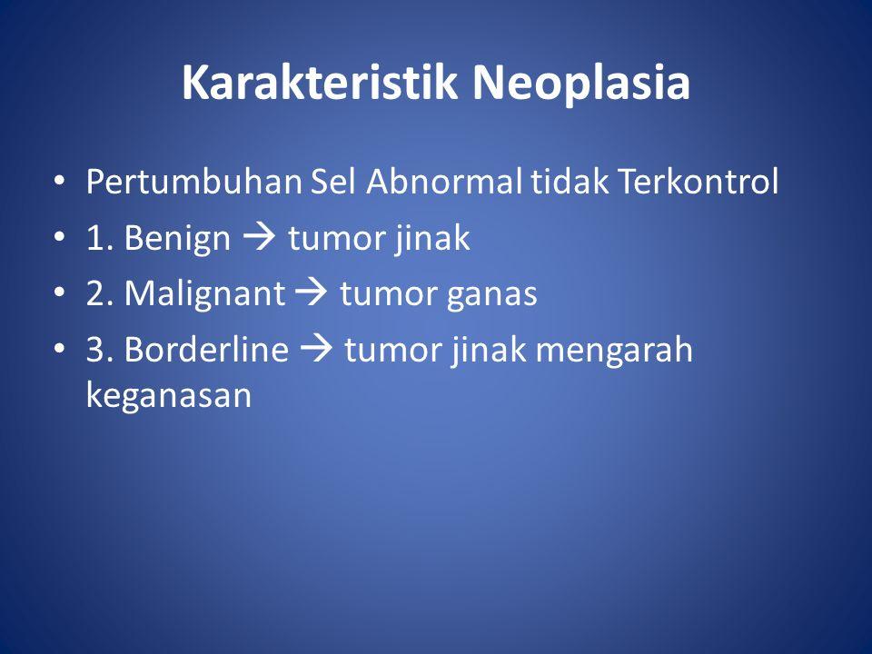 Karakteristik Neoplasia Pertumbuhan Sel Abnormal tidak Terkontrol 1.