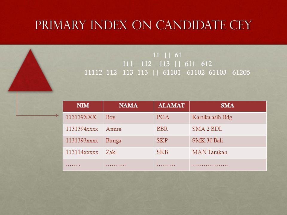 Primary index on candidate cey NIMNAMAALAMATSMA 113139XXXBoyPGAKartika asih Bdg 1131394xxxxAmiraBBRSMA 2 BDL 1131393xxxxBungaSKPSMK 30 Bali 113114xxxx