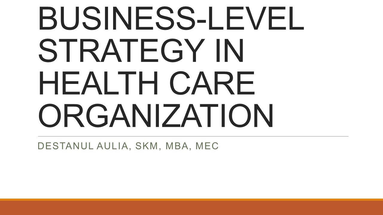 BUSINESS-LEVEL STRATEGY IN HEALTH CARE ORGANIZATION DESTANUL AULIA, SKM, MBA, MEC