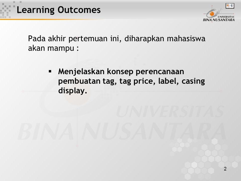 2 Learning Outcomes Pada akhir pertemuan ini, diharapkan mahasiswa akan mampu :  Menjelaskan konsep perencanaan pembuatan tag, tag price, label, casing display.