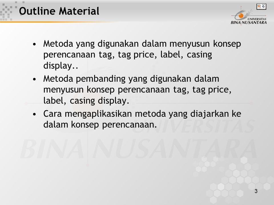 3 Outline Material Metoda yang digunakan dalam menyusun konsep perencanaan tag, tag price, label, casing display..