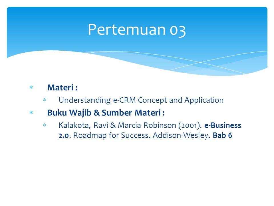  Materi :  Understanding e-CRM Concept and Application  Buku Wajib & Sumber Materi :  Kalakota, Ravi & Marcia Robinson (2001). e-Business 2.0. Roa