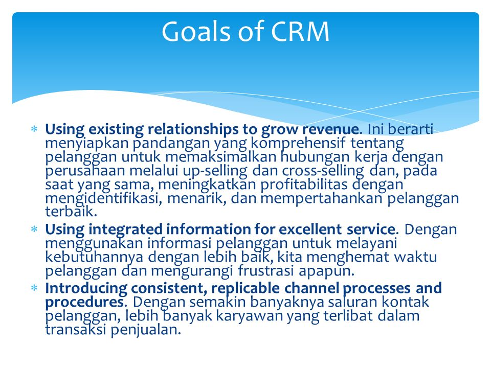  Using existing relationships to grow revenue.