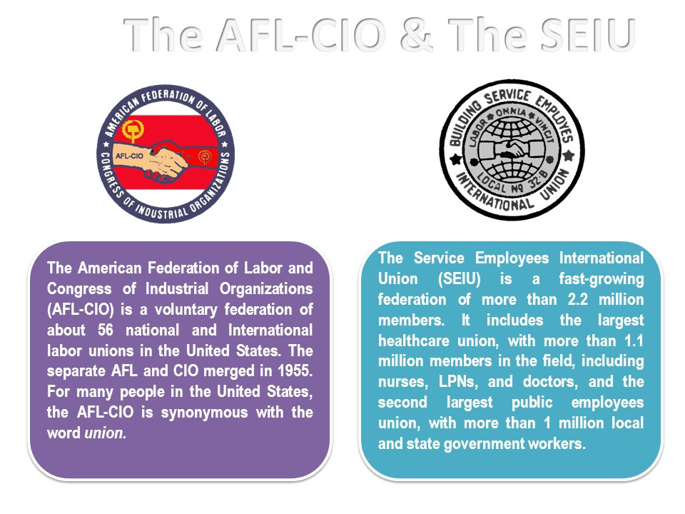 The American Federation of Labor and Congress of Industrial Organizations (AFL-CIO) is a voluntary federation of about 56 national and International l