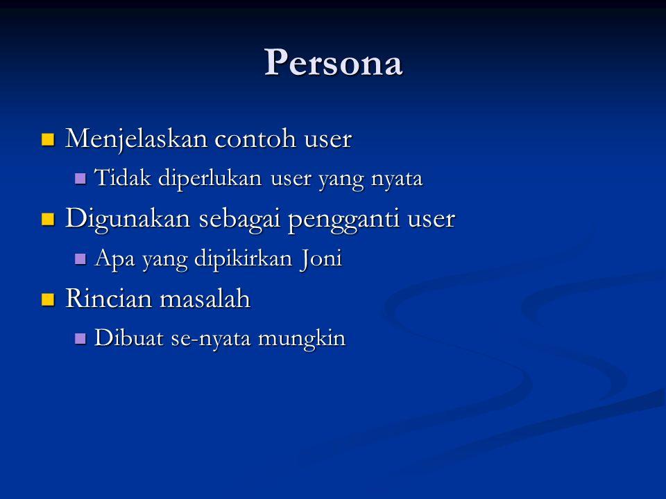 Persona Menjelaskan contoh user Menjelaskan contoh user Tidak diperlukan user yang nyata Tidak diperlukan user yang nyata Digunakan sebagai pengganti