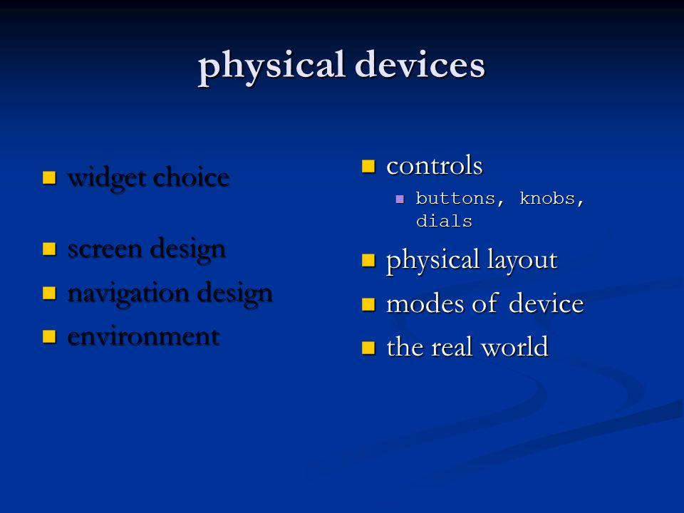 physical devices widget choice widget choice screen design screen design navigation design navigation design environment environment controls controls