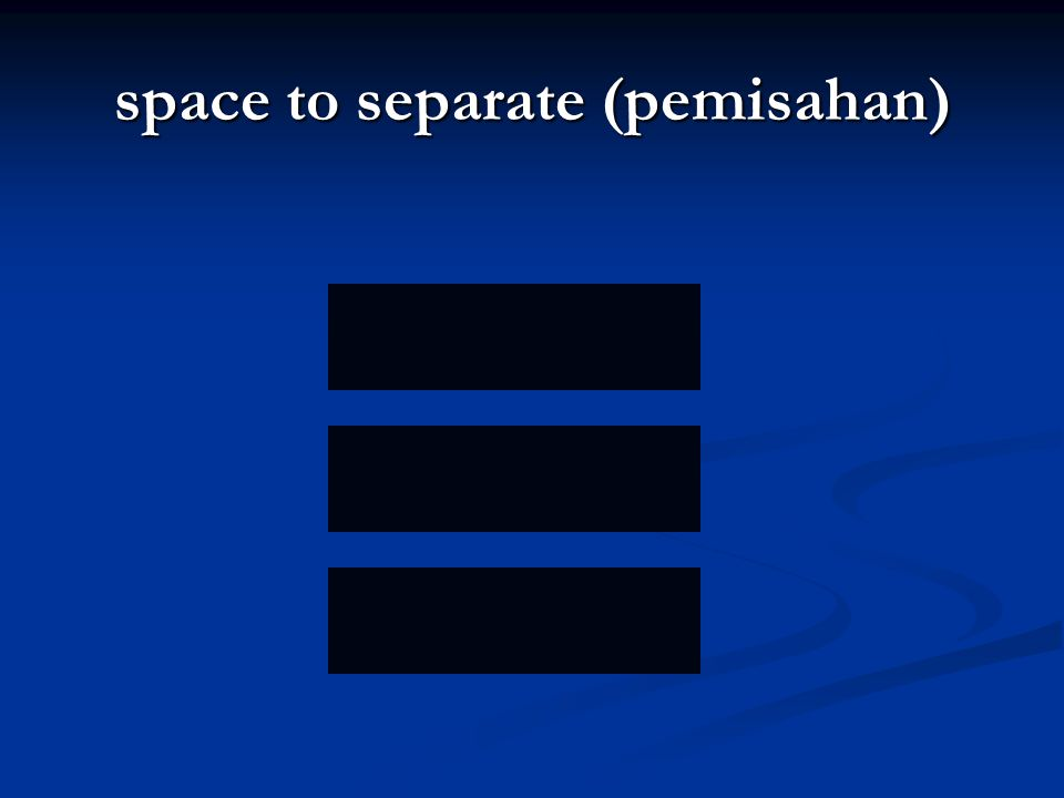 space to separate (pemisahan)