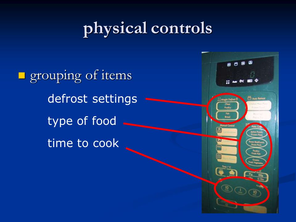 physical controls grouping of items grouping of items defrost settings defrost settings type of food type of food time to cook time to cook type of food time to cook defrost settings