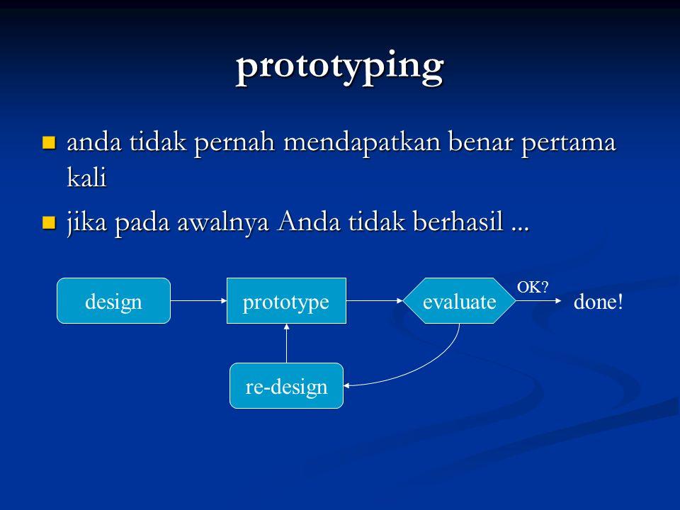 prototyping anda tidak pernah mendapatkan benar pertama kali anda tidak pernah mendapatkan benar pertama kali jika pada awalnya Anda tidak berhasil...
