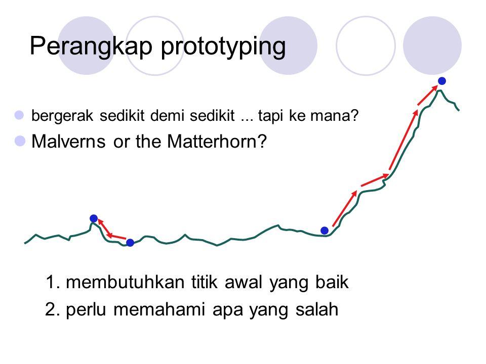 Perangkap prototyping bergerak sedikit demi sedikit... tapi ke mana? Malverns or the Matterhorn? 1. membutuhkan titik awal yang baik 2. perlu memahami
