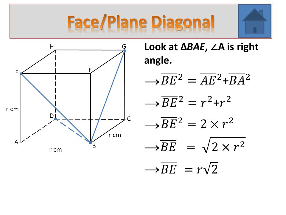 A B C D E H F G r cm Look at ∆CAE, ∠ A is right angle. → → → → →