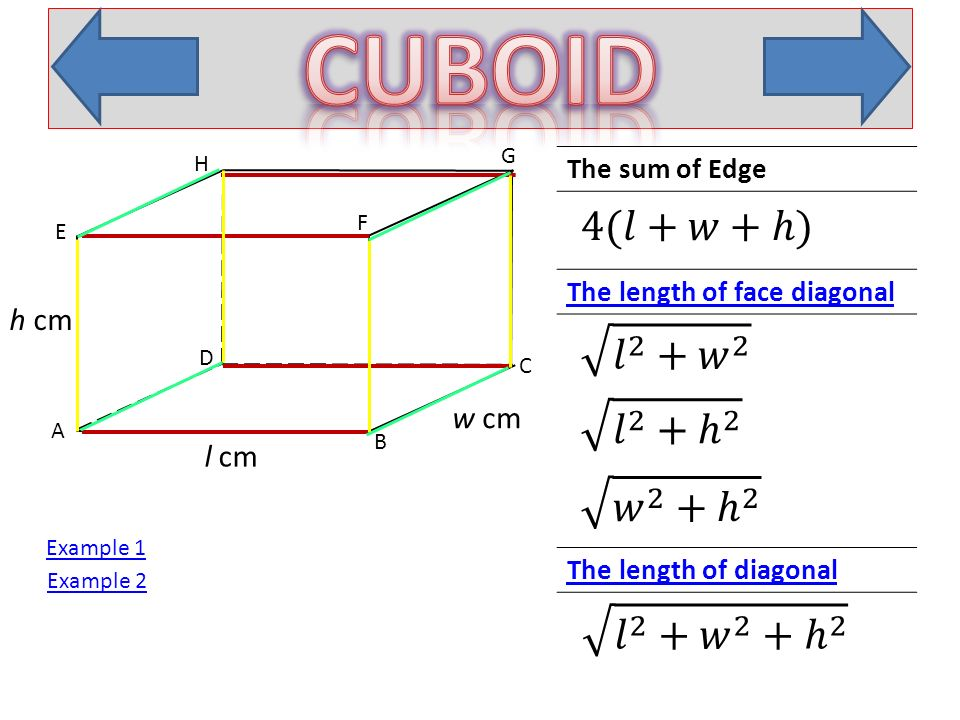 A B C D E H F G l cm w cm h cm Look at ∆CBF, ∠ B is right angle. Look at ∆ABC, ∠ B is right angle.