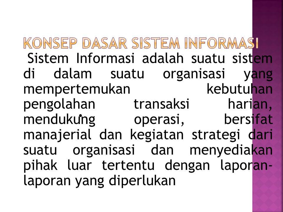 Sistem Informasi adalah suatu sistem di dalam suatu organisasi yang mempertemukan kebutuhan pengolahan transaksi harian, mendukung operasi, bersifat manajerial dan kegiatan strategi dari suatu organisasi dan menyediakan pihak luar tertentu dengan laporan- laporan yang diperlukan 