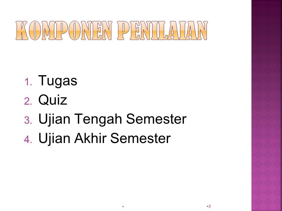 1. Tugas 2. Quiz 3. Ujian Tengah Semester 4. Ujian Akhir Semester  33