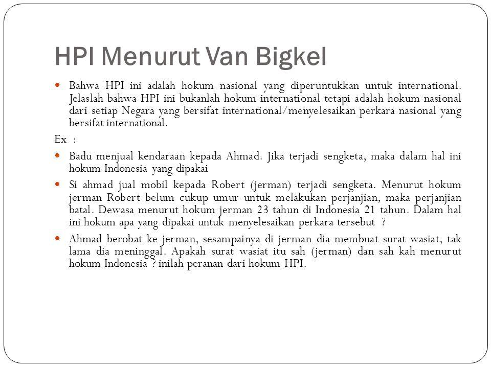 HPI Menurut Van Bigkel Bahwa HPI ini adalah hokum nasional yang diperuntukkan untuk international. Jelaslah bahwa HPI ini bukanlah hokum international