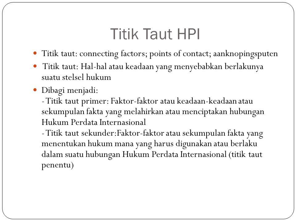 Titik Taut HPI Titik taut: connecting factors; points of contact; aanknopingsputen Titik taut: Hal-hal atau keadaan yang menyebabkan berlakunya suatu