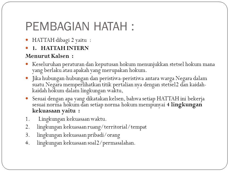 PEMBAGIAN HATAH : HATTAH dibagi 2 yaitu : 1. HATTAH INTERN Menurut Kalsen : Keseluruhan peraturan dan keputusan hokum menunjukkan stetsel hokum mana y