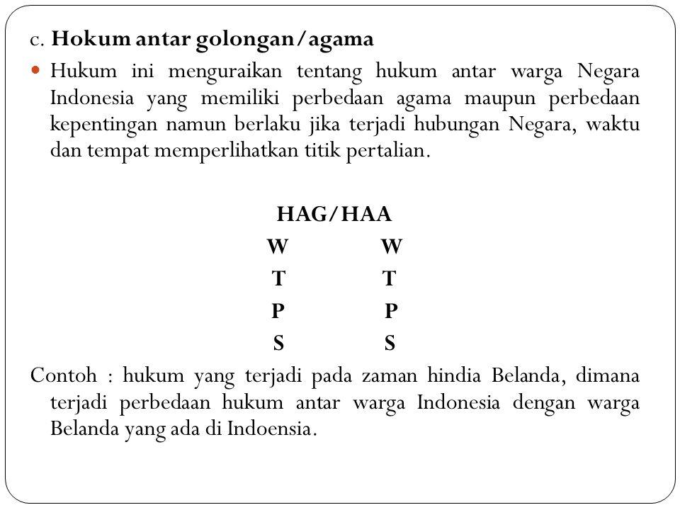 c. Hokum antar golongan/agama Hukum ini menguraikan tentang hukum antar warga Negara Indonesia yang memiliki perbedaan agama maupun perbedaan kepentin