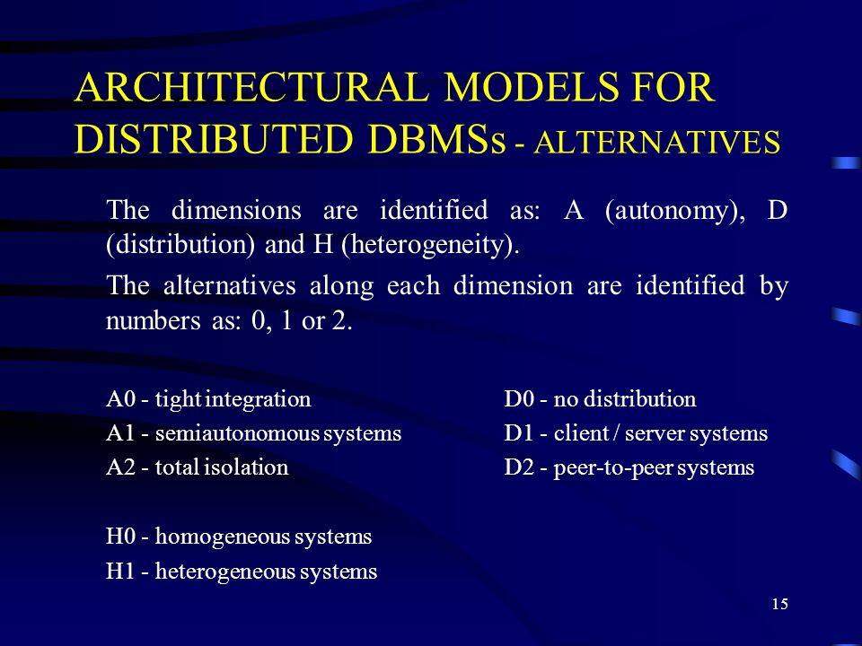15 ARCHITECTURAL MODELS FOR DISTRIBUTED DBMSs - ALTERNATIVES The dimensions are identified as: A (autonomy), D (distribution) and H (heterogeneity).