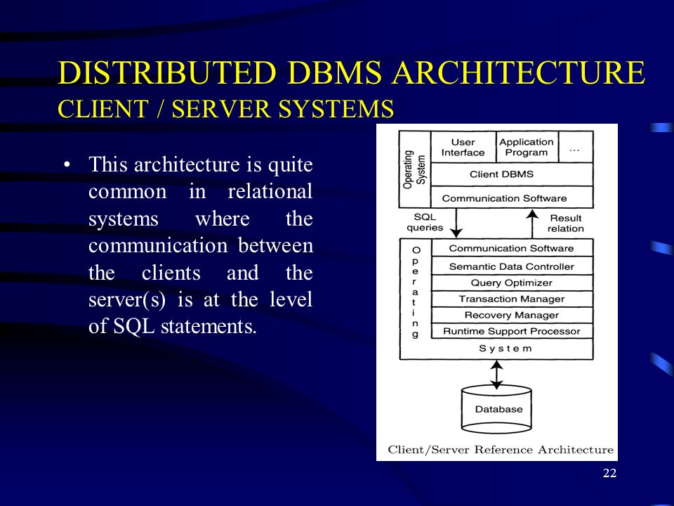 22 DISTRIBUTED DBMS ARCHITECTURE CLIENT / SERVER SYSTEMS This architecture is quite common in relational systems where the communication between the clients and the server(s) is at the level of SQL statements.