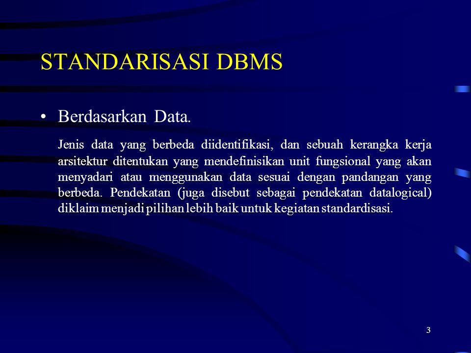 3 STANDARISASI DBMS Berdasarkan Data. Jenis data yang berbeda diidentifikasi, dan sebuah kerangka kerja arsitektur ditentukan yang mendefinisikan unit