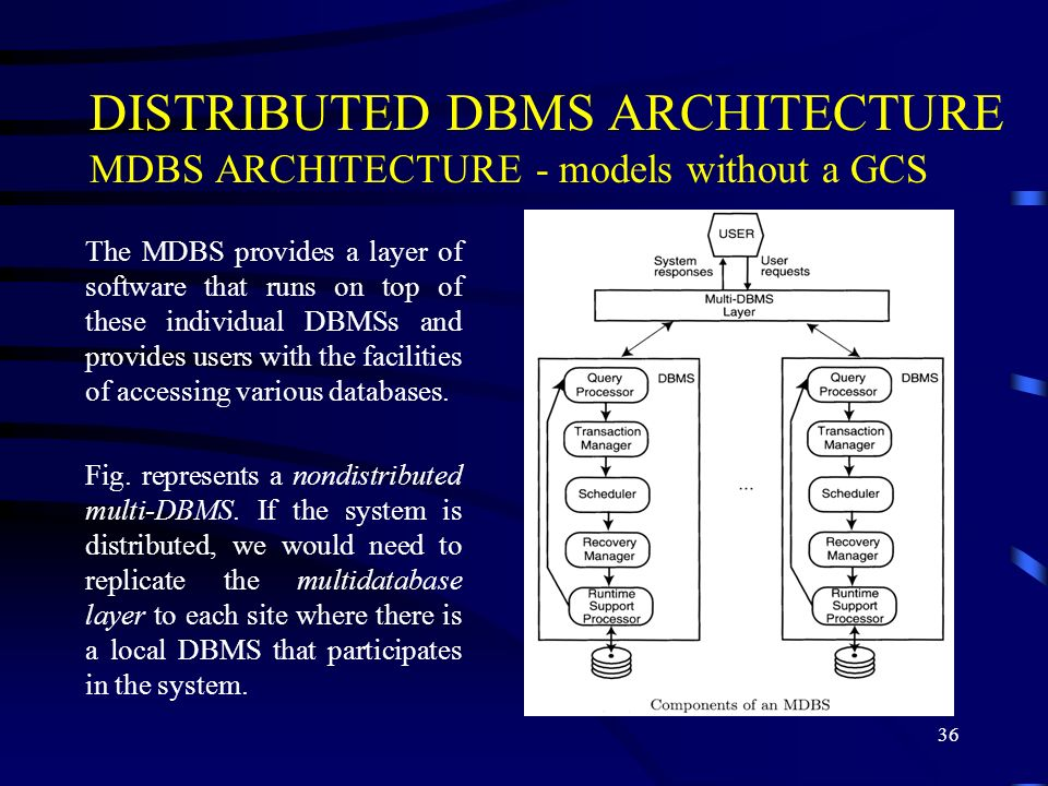 36 DISTRIBUTED DBMS ARCHITECTURE MDBS ARCHITECTURE - models without a GCS The MDBS provides a layer of software that runs on top of these individual DBMSs and provides users with the facilities of accessing various databases.