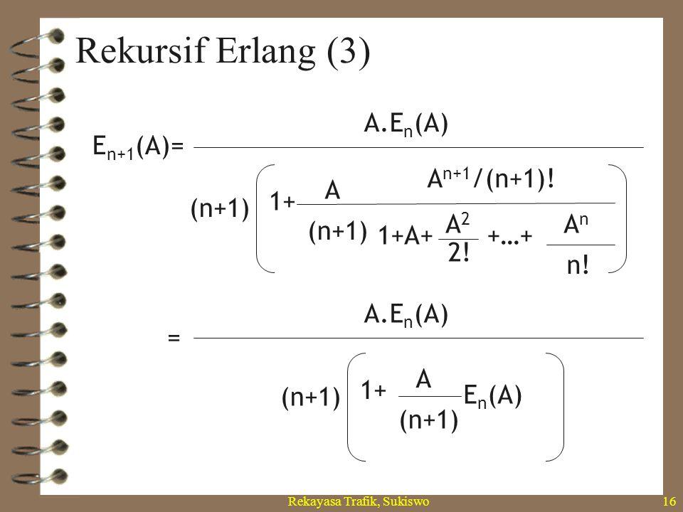 Rekayasa Trafik, Sukiswo15 Rekursif Erlang (2) (n+1)! 2! n! E n+1 (A)= A n /n! 1+A+ A2A2 AnAn +…+ A n+1 /(n+1)! 1+A+ A2A2 A n+1 +…+ A (n+1)1+