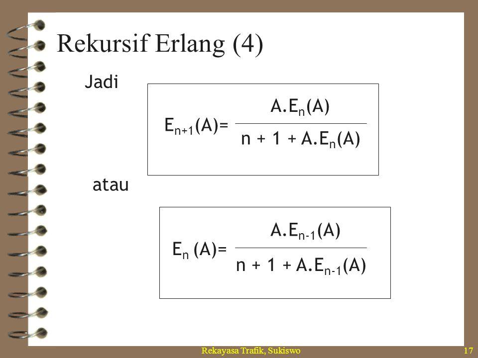 Rekayasa Trafik, Sukiswo16 Rekursif Erlang (3) 2! E n+1 (A)= A n+1 /(n+1)! 1+A+ A2A2 AnAn n! +…+ A.E n (A) (n+1) 1+ A (n+1) = E n (A) A.E n (A) (n+1)