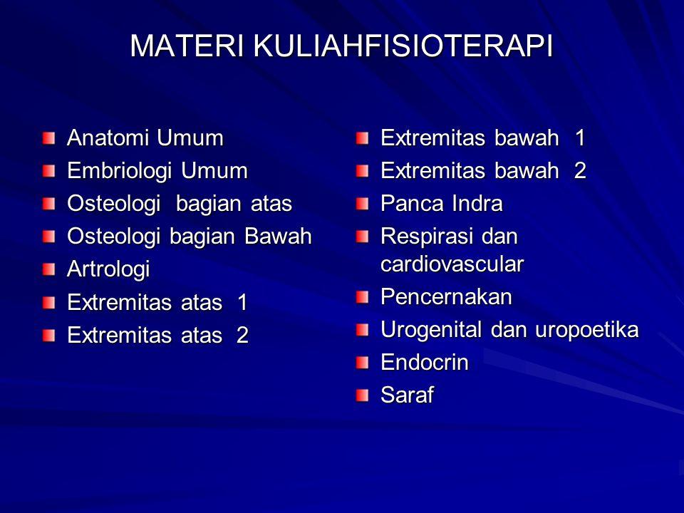 MATERI KULIAHFISIOTERAPI Anatomi Umum Embriologi Umum Osteologi bagian atas Osteologi bagian Bawah Artrologi Extremitas atas 1 Extremitas atas 2 Extre