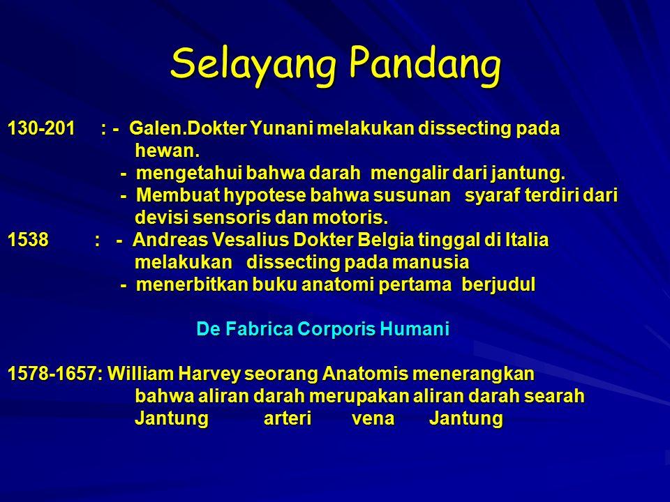 Selayang Pandang 130-201 : - Galen.Dokter Yunani melakukan dissecting pada hewan. hewan. - mengetahui bahwa darah mengalir dari jantung. - mengetahui
