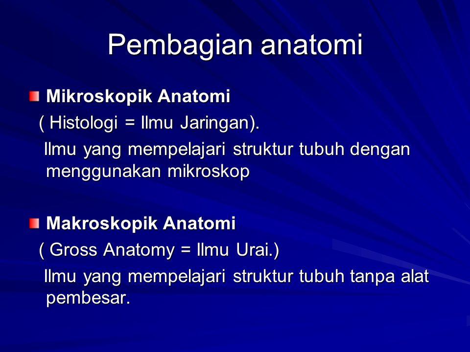 Pembagian anatomi Mikroskopik Anatomi ( Histologi = Ilmu Jaringan). ( Histologi = Ilmu Jaringan). Ilmu yang mempelajari struktur tubuh dengan mengguna