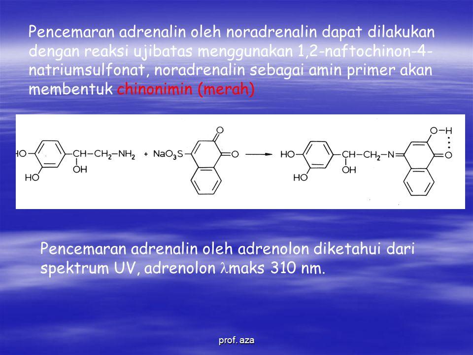 Pencemaran adrenalin oleh noradrenalin dapat dilakukan dengan reaksi ujibatas menggunakan 1,2-naftochinon-4- natriumsulfonat, noradrenalin sebagai amin primer akan membentuk chinonimin (merah) Pencemaran adrenalin oleh adrenolon diketahui dari spektrum UV, adrenolon maks 310 nm.