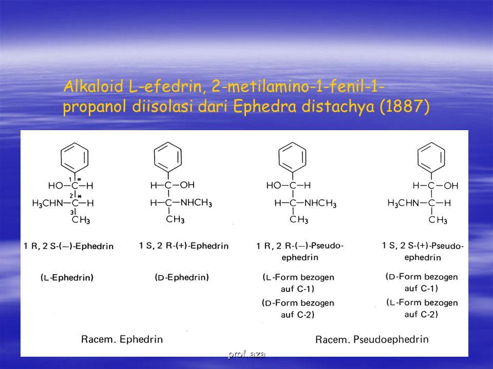 Alkaloid L-efedrin, 2-metilamino-1-fenil-1- propanol diisolasi dari Ephedra distachya (1887) prof.