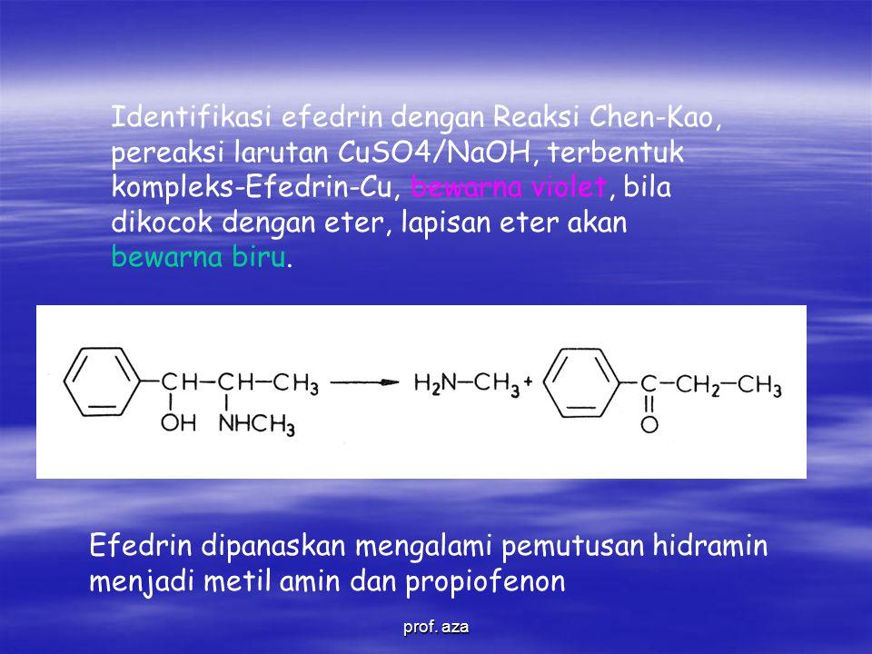 Efedrin dipanaskan mengalami pemutusan hidramin menjadi metil amin dan propiofenon Identifikasi efedrin dengan Reaksi Chen-Kao, pereaksi larutan CuSO4/NaOH, terbentuk kompleks-Efedrin-Cu, bewarna violet, bila dikocok dengan eter, lapisan eter akan bewarna biru.