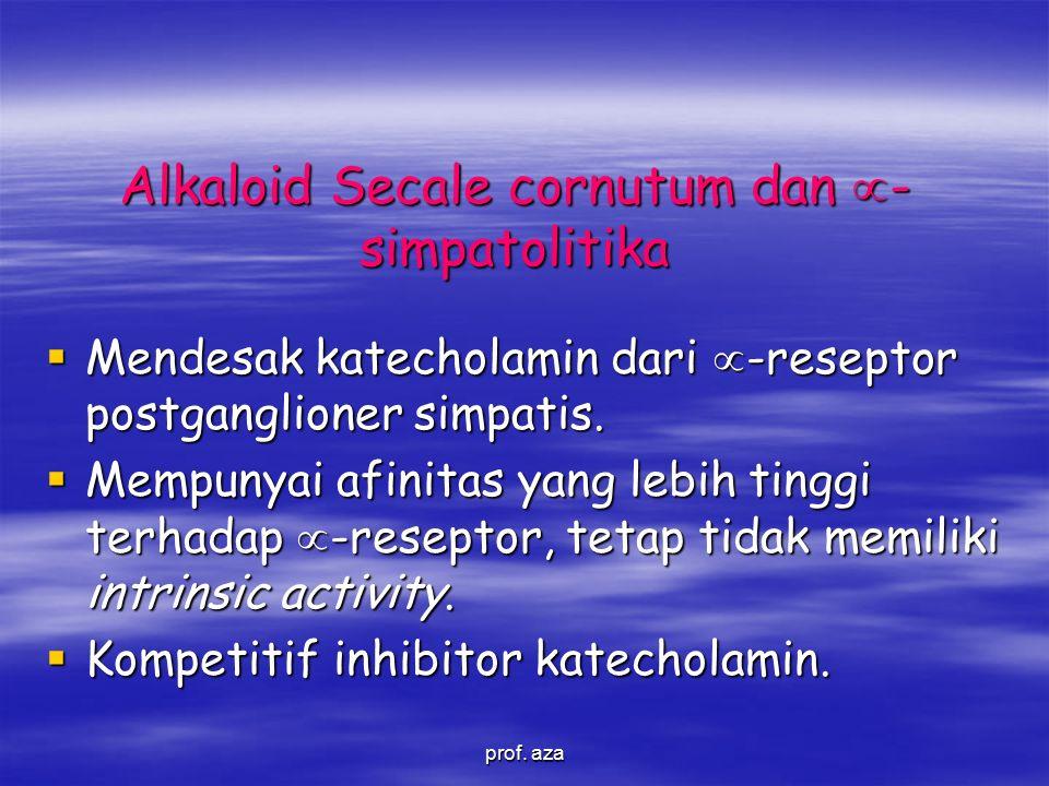 Alkaloid Secale cornutum dan  - simpatolitika  Mendesak katecholamin dari  -reseptor postganglioner simpatis.