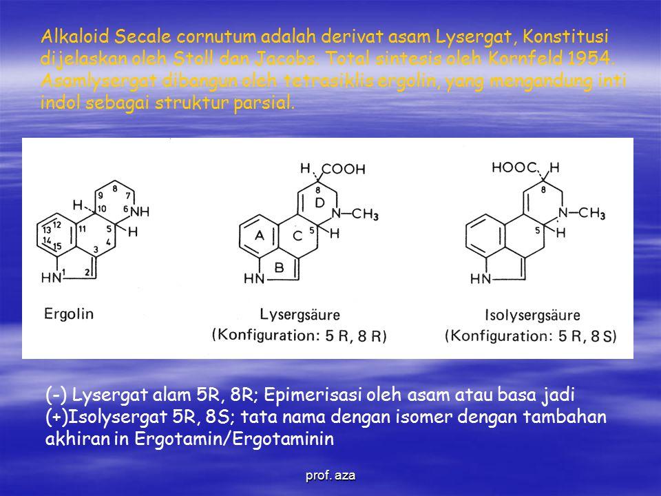 Alkaloid Secale cornutum adalah derivat asam Lysergat, Konstitusi dijelaskan oleh Stoll dan Jacobs.