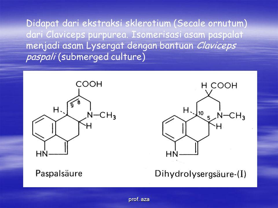 Didapat dari ekstraksi sklerotium (Secale ornutum) dari Claviceps purpurea.