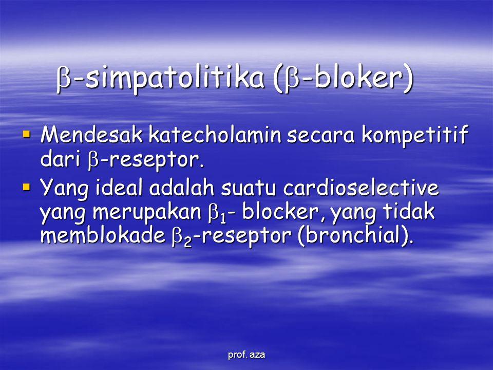  -simpatolitika (  -bloker)  Mendesak katecholamin secara kompetitif dari  -reseptor.