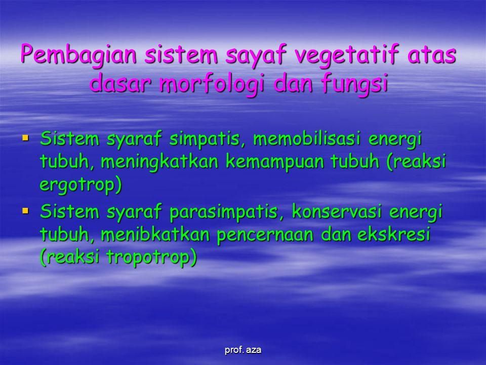 Pembagian sistem sayaf vegetatif atas dasar morfologi dan fungsi  Sistem syaraf simpatis, memobilisasi energi tubuh, meningkatkan kemampuan tubuh (reaksi ergotrop)  Sistem syaraf parasimpatis, konservasi energi tubuh, menibkatkan pencernaan dan ekskresi (reaksi tropotrop) prof.