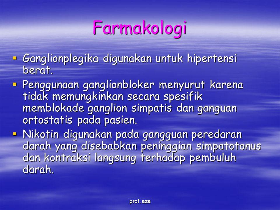 Farmakologi  Ganglionplegika digunakan untuk hipertensi berat.