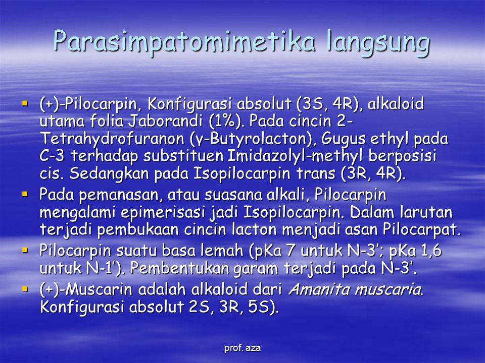 Parasimpatomimetika langsung  (+)-Pilocarpin, Konfigurasi absolut (3S, 4R), alkaloid utama folia Jaborandi (1%).