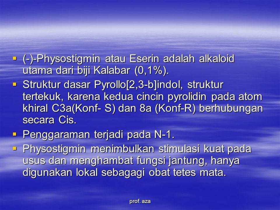 (-)-Physostigmin atau Eserin adalah alkaloid utama dari biji Kalabar (0,1%).